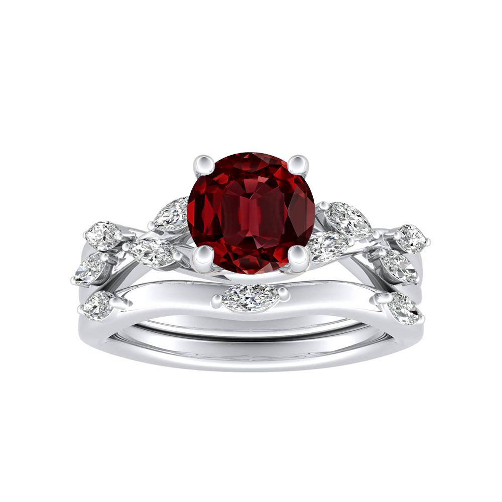 BLOSSOM Ruby Wedding Ring Set In 14K White Gold With 0.50 Carat Round Stone