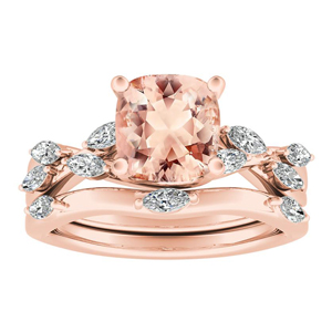 BLOSSOM  Morganite  Wedding  Ring  Set  In  14K  Rose  Gold  With  1.00  Carat  Cushion  Stone