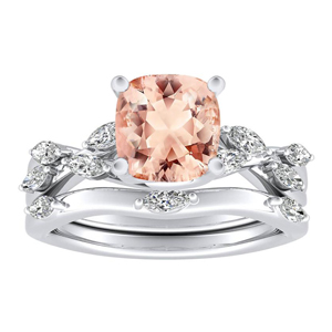 <span>BLOSSOM</span> Morganite  Wedding  Ring  Set  In  14K  White  Gold  With  1.00  Carat  Cushion  Stone