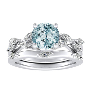 BLOSSOM  Aquamarine  Wedding  Ring  Set  In  14K  White  Gold  With  1.00  Carat  Round  Stone
