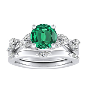 <span>BLOSSOM</span> Green  Emerald  Wedding  Ring  Set  In  14K  White  Gold  With  0.50  Carat  Round  Stone