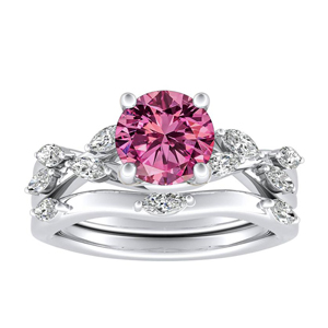 BLOSSOM  Pink  Sapphire  Wedding  Ring  Set  In  14K  White  Gold  With  0.50  Carat  Round  Stone