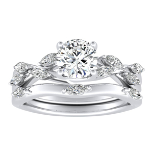 BLOSSOM Diamond Wedding Ring Set In 14K White Gold With 0.50ct. Round Diamond