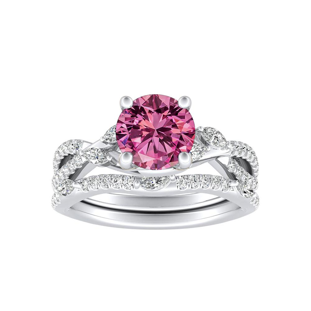 MEADOW Pink Sapphire Wedding Ring Set In 14K White Gold With 0.50 Carat Round Stone
