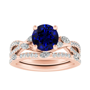 MEADOW  Blue  Sapphire  Wedding  Ring  Set  In  14K  Rose  Gold  With  0.50  Carat  Round  Stone