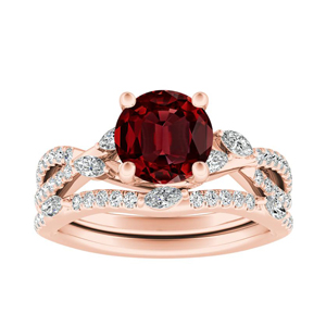 MEADOW  Ruby  Wedding  Ring  Set  In  14K  Rose  Gold  With  0.50  Carat  Round  Stone