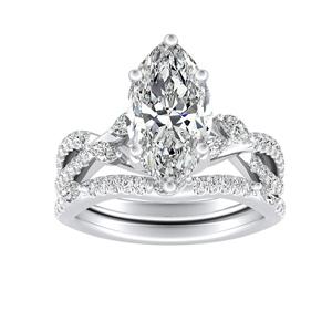MEADOW Diamond Wedding Ring Set In 14K White Gold