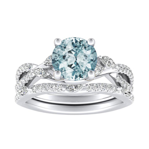 MEADOW  Aquamarine  Wedding  Ring  Set  In  14K  White  Gold  With  1.00  Carat  Round  Stone