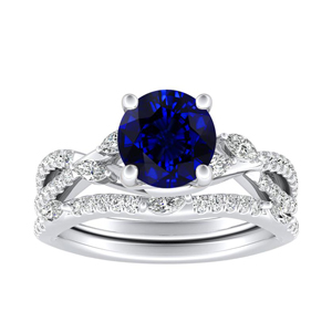MEADOW  Blue  Sapphire  Wedding  Ring  Set  In  14K  White  Gold  With  0.50  Carat  Round  Stone