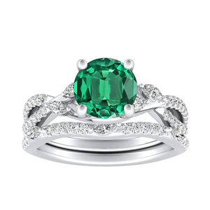 MEADOW Green Emerald Wedding Ring Set In 14K White Gold With 0.50 Carat Round Stone