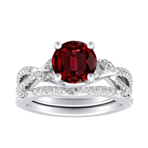 MEADOW  Ruby  Wedding  Ring  Set  In  14K  White  Gold  With  0.50  Carat  Round  Stone