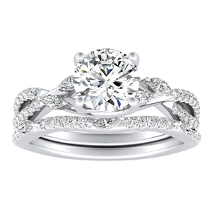 MEADOW Diamond Wedding Ring Set In 14K White Gold