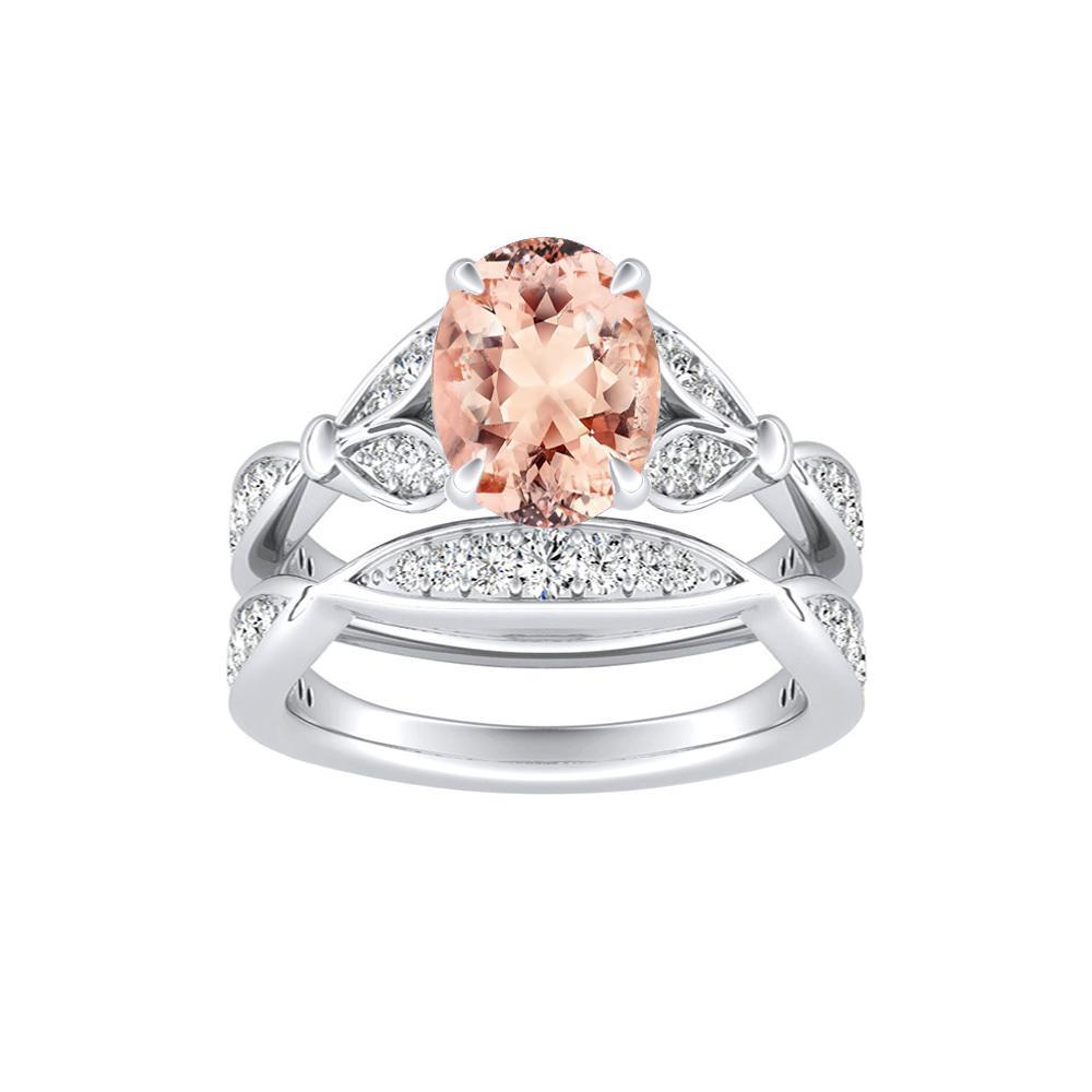 Wedding Ring Set.Fleur Morganite Wedding Ring Set In 14k White Gold With 1 00 Carat Oval Stone