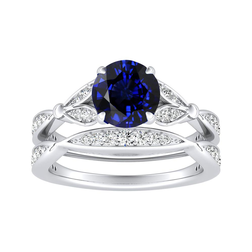 FLEUR Blue Sapphire Wedding Ring Set In 14K White Gold With 0.50 Carat Round Stone
