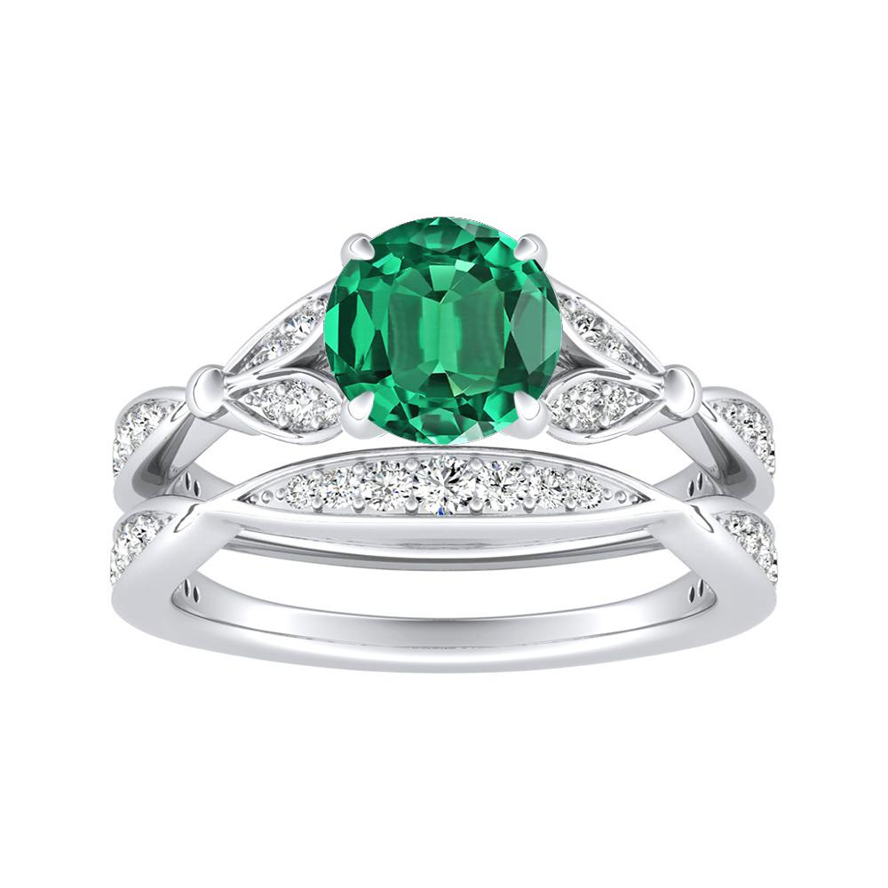 FLEUR Green Emerald Wedding Ring Set In 14K White Gold With 0.50 Carat Round Stone