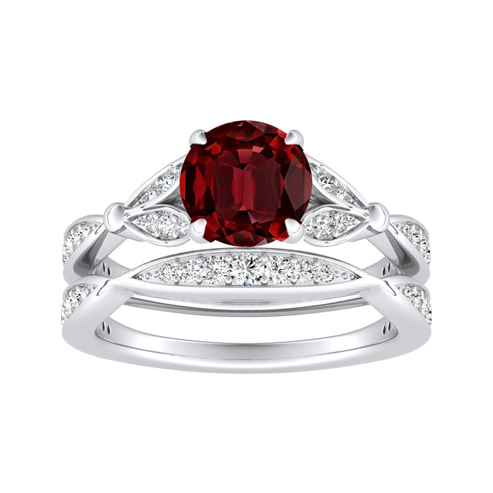 FLEUR Ruby Wedding Ring Set In 14K White Gold With 0.50 Carat Round Stone