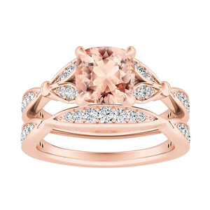 FLEUR  Morganite  Wedding  Ring  Set  In  14K  Rose  Gold  With  1.00  Carat  Cushion  Stone