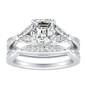 FLEUR Diamond Wedding Ring Set In 14K White Gold