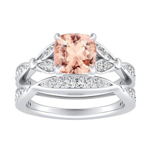<span>FLEUR</span> Morganite  Wedding  Ring  Set  In  14K  White  Gold  With  1.00  Carat  Cushion  Stone