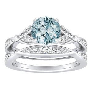 FLEUR  Aquamarine  Wedding  Ring  Set  In  14K  White  Gold  With  1.00  Carat  Round  Stone
