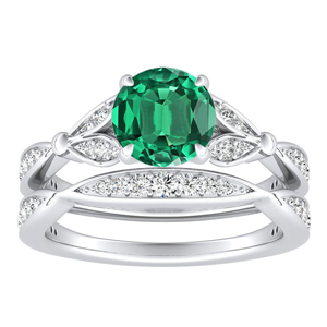 <span>FLEUR</span> Green  Emerald  Wedding  Ring  Set  In  14K  White  Gold  With  0.50  Carat  Round  Stone