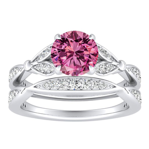 FLEUR  Pink  Sapphire  Wedding  Ring  Set  In  14K  White  Gold  With  0.50  Carat  Round  Stone