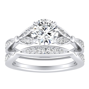 FLEUR Diamond Wedding Ring Set In 14K White Gold