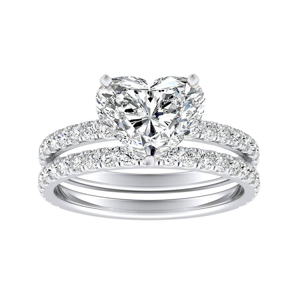 RILEY Classic Diamond Wedding Ring Set In 14K White Gold