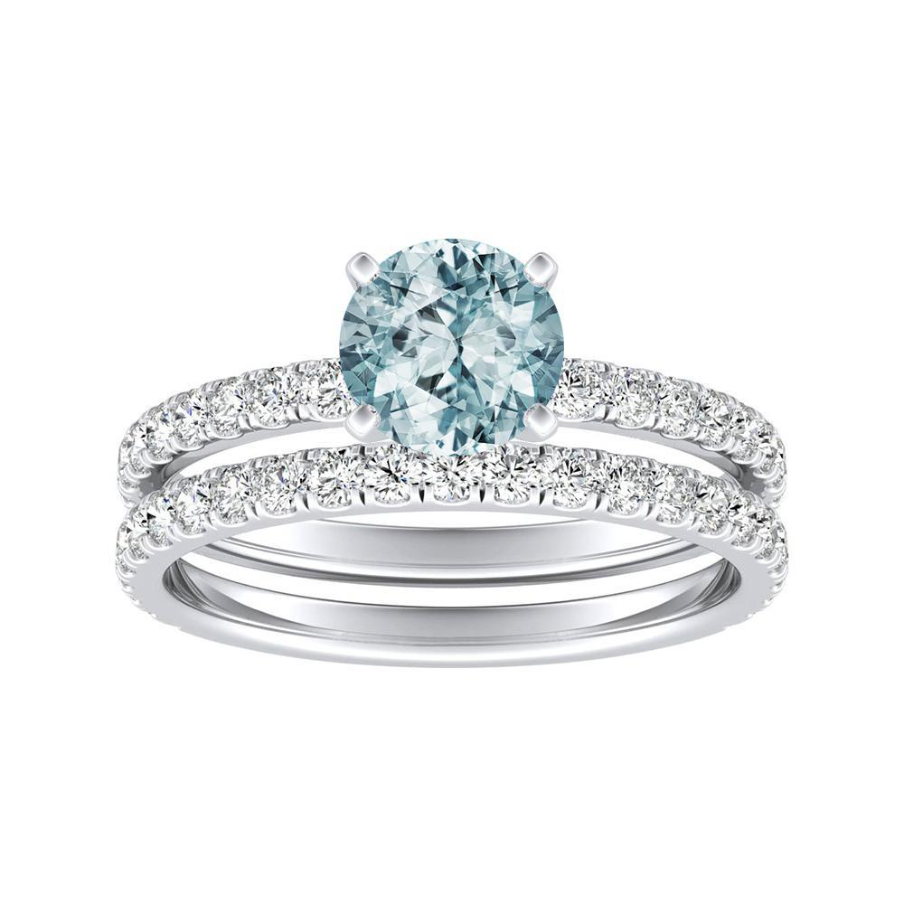 RILEY Classic Aquamarine Wedding Ring Set In 14K White Gold With 1.00 Carat Round Stone