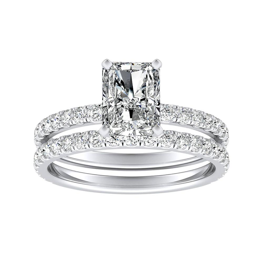 RILEY Classic Diamond Wedding Ring Set In 14K White Gold