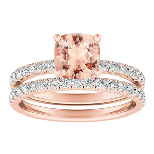 RILEY  Classic  Morganite  Wedding  Ring  Set  In  14K  Rose  Gold  With  1.00  Carat  Cushion  Stone