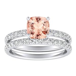 <span>RILEY</span> Classic  Morganite  Wedding  Ring  Set  In  14K  White  Gold  With  1.00  Carat  Cushion  Stone