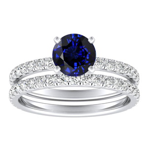 RILEY  Classic  Blue  Sapphire  Wedding  Ring  Set  In  14K  White  Gold  With  0.50  Carat  Round  Stone