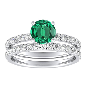 RILEY  Classic  Green  Emerald  Wedding  Ring  Set  In  14K  White  Gold  With  0.50  Carat  Round  Stone