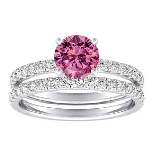 RILEY  Classic  Pink  Sapphire  Wedding  Ring  Set  In  14K  White  Gold  With  0.50  Carat  Round  Stone