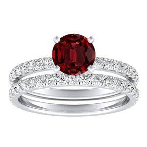 RILEY  Classic  Ruby  Wedding  Ring  Set  In  14K  White  Gold  With  0.50  Carat  Round  Stone