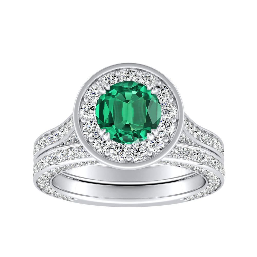 PENELOPE Halo Green Emerald Wedding Ring Set In 14K White Gold With 0.50 Carat Round Stone