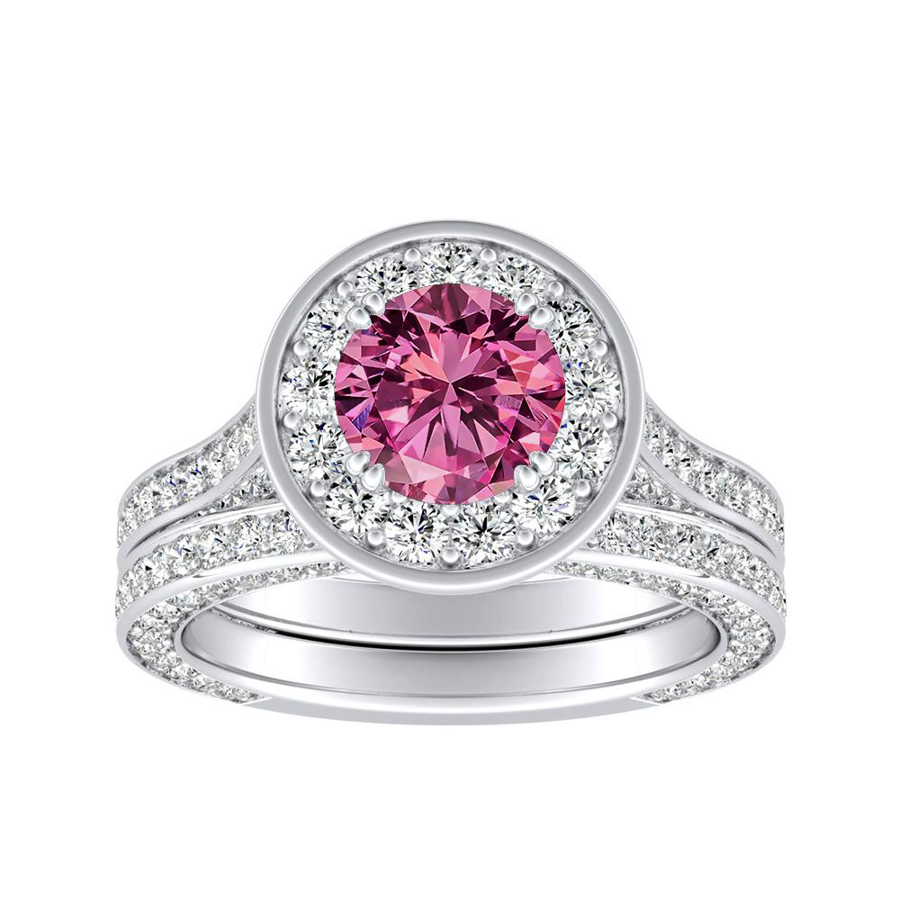 PENELOPE Halo Pink Sapphire Wedding Ring Set In 14K White Gold With 0.50 Carat Round Stone
