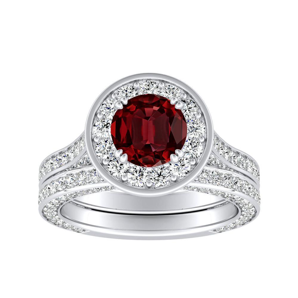 PENELOPE Halo Ruby Wedding Ring Set In 14K White Gold With 0.50 Carat Round Stone