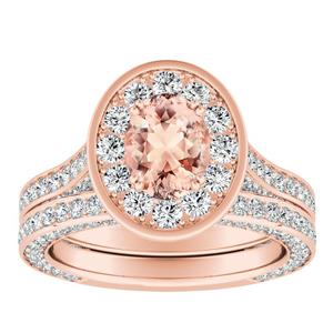 PENELOPE Halo Morganite Wedding Ring Set In 14K Rose Gold With 1.00 Carat Oval Stone