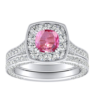 PENELOPE  Halo  Pink  Sapphire  Wedding  Ring  Set  In  14K  White  Gold  With  0.50  Carat  Cushion  Stone