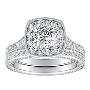 PENELOPE Halo Diamond Wedding Ring Set In 14K White Gold