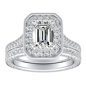 PENELOPE Halo Diamond Wedding Ring Set In 14K White Gold
