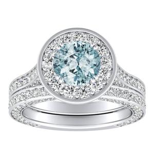 PENELOPE  Halo  Aquamarine  Wedding  Ring  Set  In  14K  White  Gold  With  1.00  Carat  Round  Stone