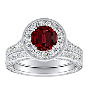 PENELOPE  Halo  Ruby  Wedding  Ring  Set  In  14K  White  Gold  With  0.50  Carat  Round  Stone
