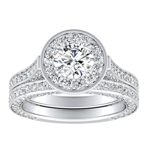 PENELOPE Halo Diamond Wedding Ring Set In 14K White Gold With 0.50ct. Round Diamond