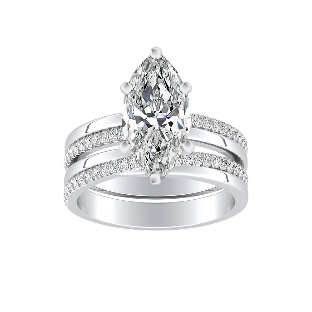ALISON Classic Diamond Wedding Ring Set In 14K White Gold
