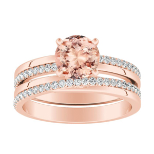 ALISON  Classic  Morganite  Wedding  Ring  Set  In  14K  Rose  Gold  With  1.00  Carat  Round  Stone