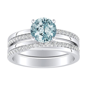 ALISON  Classic  Aquamarine  Wedding  Ring  Set  In  14K  White  Gold  With  1.00  Carat  Round  Stone