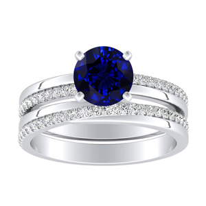 ALISON  Classic  Blue  Sapphire  Wedding  Ring  Set  In  14K  White  Gold  With  0.50  Carat  Round  Stone